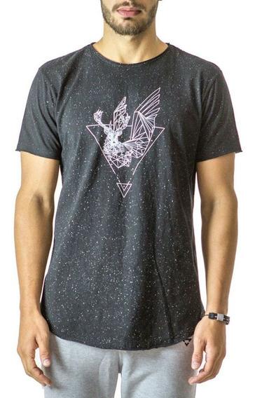 Camiseta Longline Curve Galaxy Brohood Preto