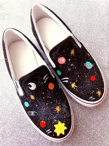 Tênis Casual Universo Galaxy Estilo All Star Feminino Novo