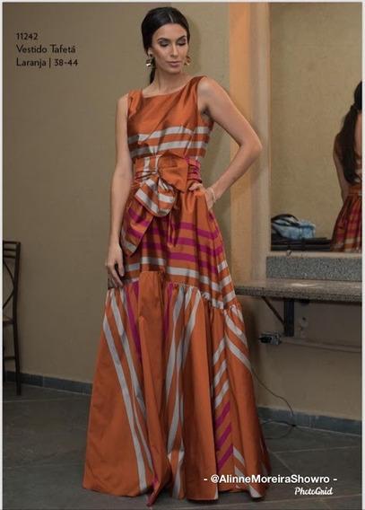 Vestido Longo De Tafetá Laranja Luzia Fazzolli
