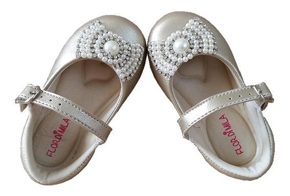 Sapato De Festa Infantil Dourado Luxo Sapatilha Bebe Lindo