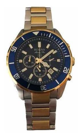 Relógio Bulova Masculino Marine Star 98b230 Azul Misto Rose