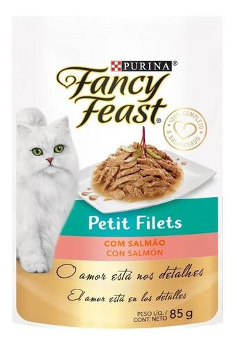 Pouch Gato Alimento Fancy Feast Salmón Caja 15 Unid