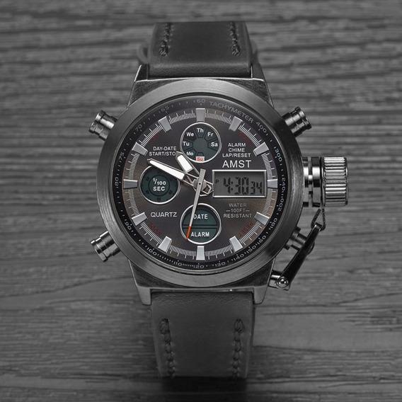 Relógio Masculino Original Preto Presente Promoção Amst
