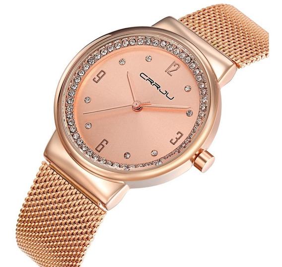 Relógio Feminino Dourado Rose Com Strass Pulseira Regulável
