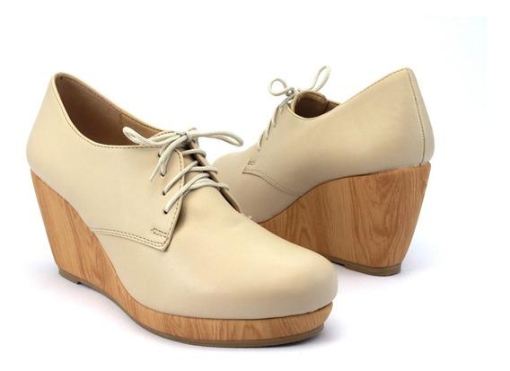 Zapato Cerrado Plataforma Cuña Nobuck Agujetas Para Dama