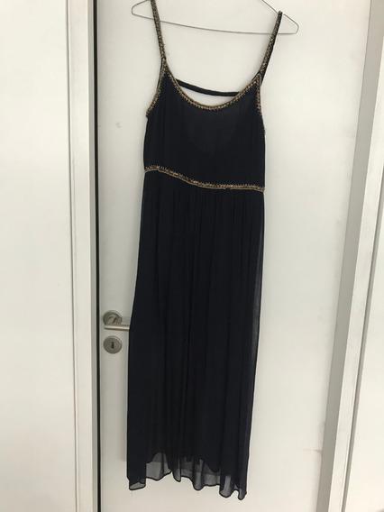 Vestido Gasa Azul Oscuro Con Lentejuelas Zara Nuevo Talle M