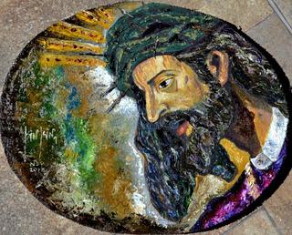 Cristo Rey Del Gran Poder O/durock Original Firmado Kinkin