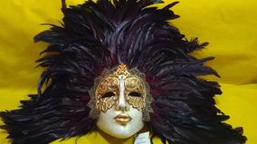 Máscara Veneziana Balocoloc Original - Feita A Mão - Penas