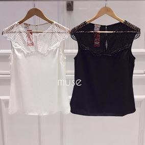 57790b0d3e Blusa Feminina Crepe Branca Com Tule Bordado Tamanho M