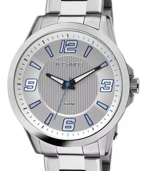 Relógio Technos Masculino Prateado Original 2036log/1a + Nf