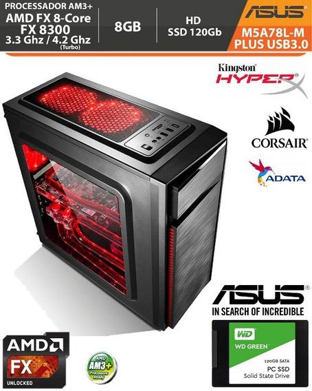 Pc Amd Fx8300 3.3/4.2ghz 8gb Ddr3 Ssd 120gb Asus M5a78l-m
