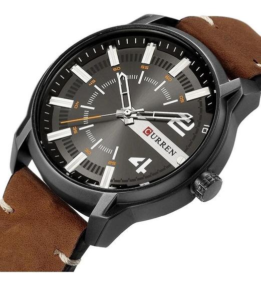 Relógio Masculino Esportivo Curren Cr8306 Cinza E Marrom