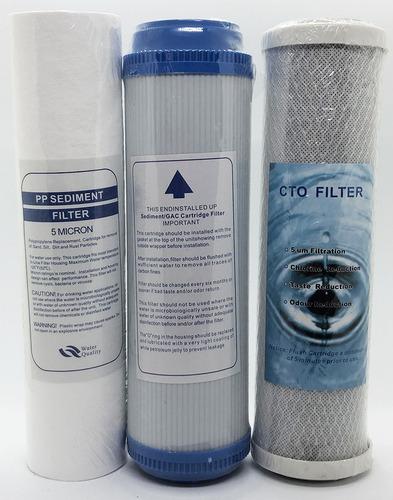 Imagen 1 de 4 de  Kit Osmosis Inversa Recambio De Filtros Completo 3 Etapas