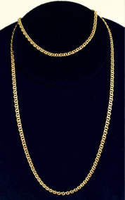 Cordão Banhado A Ouro 24k Cartier Achato 3mm 67cm