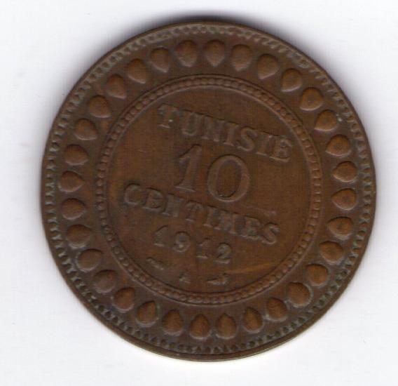Tunez 10 Centimes Año 1912 Protectorado Frances
