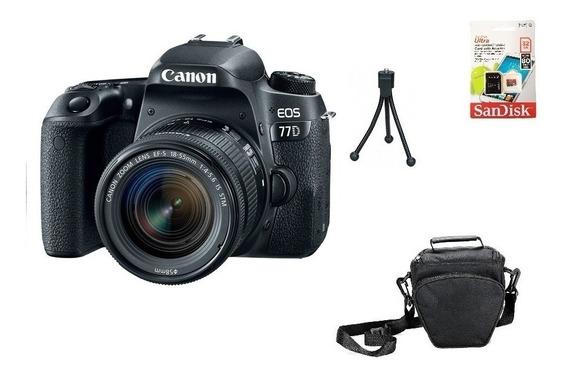 Canon 77d 18-55mm Aps-c 24.2mp Wifi 32gb Bolsa Tripé Novo
