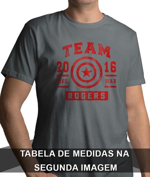 Camisa Team Rogers Capitão América Camiseta 100% Algodão