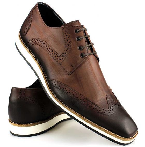Sapato Casual Oxford Couro Amarração Sola Branca Oferta