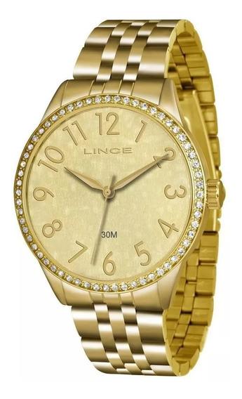 Relógio Lince Dourado Feminino Com Pedras Lrgj048l Original