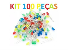 Kit -100 Leds 5 Cores (verm-verd-az-am-bc) 3mm Para Arduino