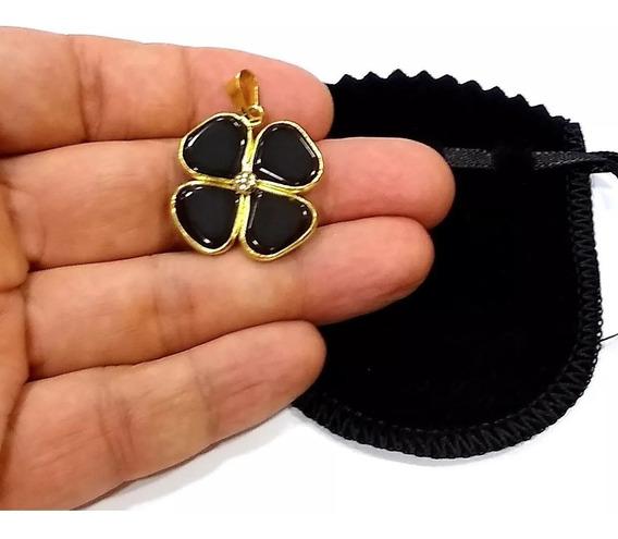 Pingente Trevo Pedra Obsidiana Negra 3cm Folheado A Ouro Tr1