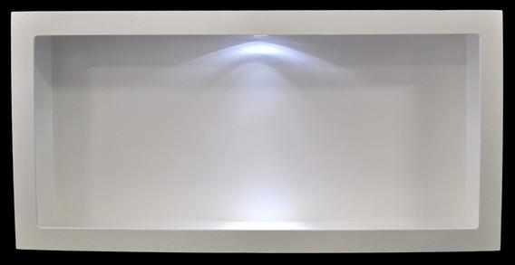 Nicho Retangular Branco Com Led 60x30x13 Mdf Madeira