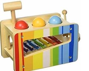 Brinquedo Xilofone Divertido De Madeira