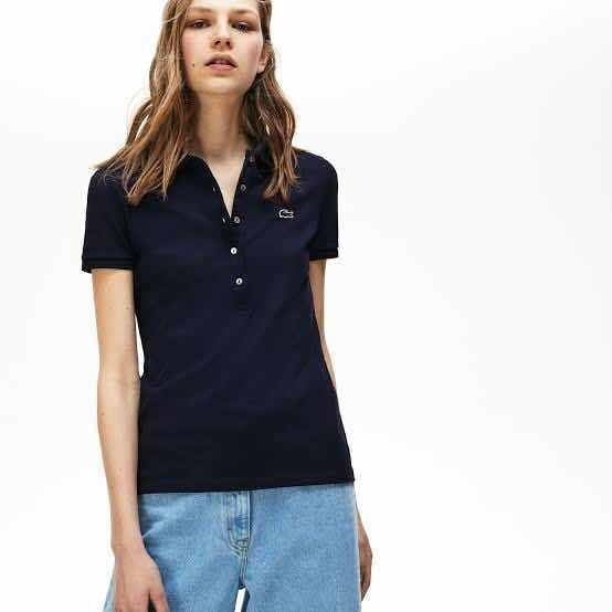 Polo Lacoste Para Dama Navy Blue (azul Marino) Slim Fit