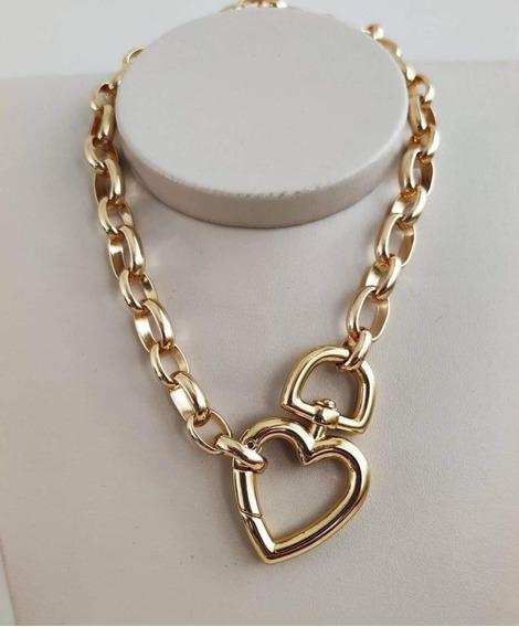 Chocker Dourada Coração Tendencia