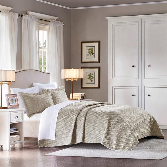 Colcha Com Porta-travesseiro Living Art Siena Queen Taupe