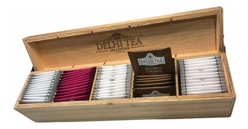 Imagen 1 de 3 de Caja De Madera Delhi Tea X 60 Saquitos - Linea Completa -