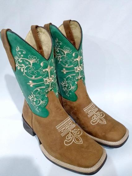 Texana Country Feminina Bico Quadrado. Bordada