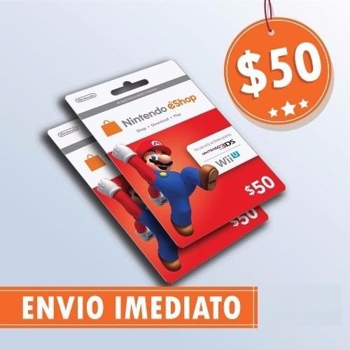 Cartão Nintendo 3ds Wii U Eshop Cash Card $50 Envio Imediato