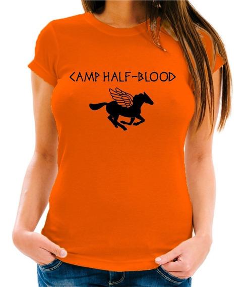 Camiseta Baby Look Camp Half Blood Meio Sangue Percy Jackson
