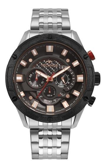 Relógio Masculino Technos Carbon Prata Js25cf/1p