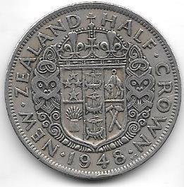Moneda Nueva Zelanda 1/2 Corona Año 1948 Jorge Vi Muy Buena
