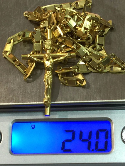 Colar Unisex Ouro 18k-24gr.-65cm. C/pingente Cruz Lindo.