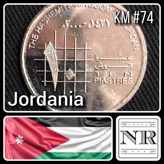 Jordania - 10 Qirsh / Piastres - Año 2000 (1421) - Km # 74 - Cuadricula