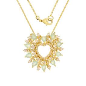 Corrente Feminina Folheada A Ouro Coração Pedras - 0303055
