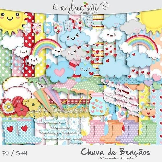 Kit Imprimible Lluvia De Amor Nubes Arcoir Imagenes Y Fondos