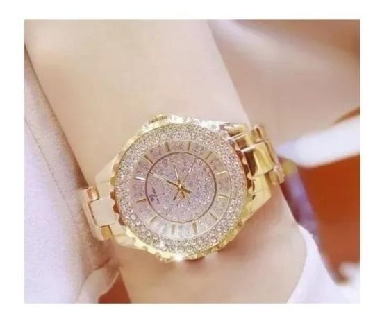 Relógio Feminino Elegante Com Pedrarias Com Caixa Lindo