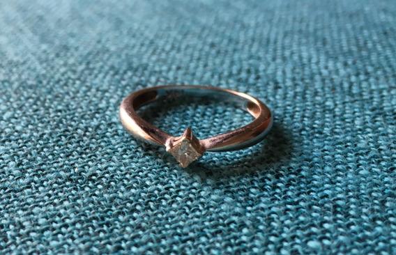 Anillo Oro Blanco 14k Con Diamante