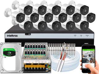 Kit Cftv 16 Cameras 3230b G4 2mp 30m Intelbras Dvr 3116 16ch