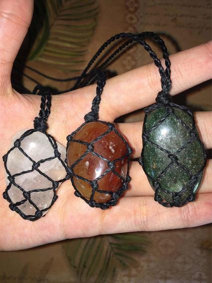 Kit 3 Colares De Pedras Naturais Castroadas Hippie + Brinde