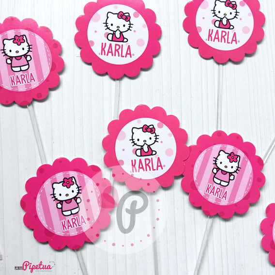 Toppers Para Cupcakes Hello Kitty Pinchos Topping Personaliz