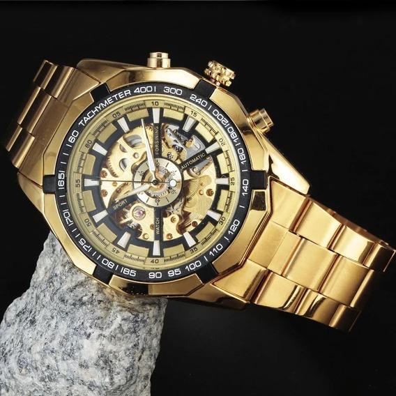 Reloj Hombre Skeleto Winner Dorado Mecánico Automatico Moda