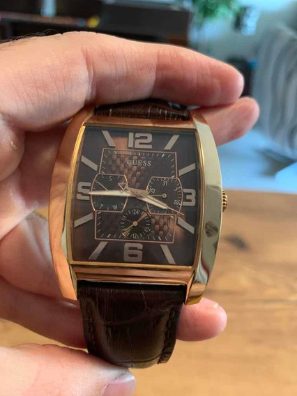Relógio Guess Modelo Executivo Com Pulseira Em Couro Lindo!