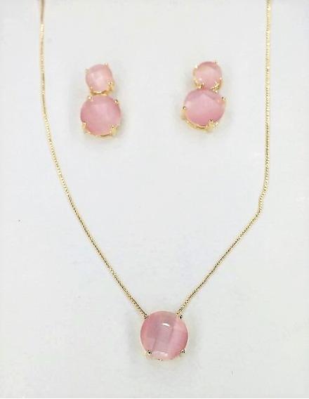 Conjunto Folheado Ouro Cristal Zircônia Rosa Luxo 32320650