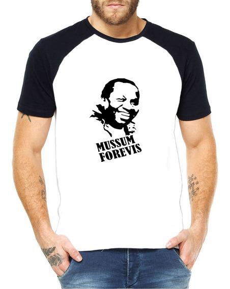 Camiseta Raglan Mussum Forevis 100% Poliéter