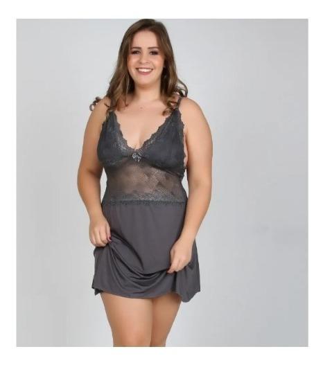 Camisola Plus Size Liganete Liso Com Renda Fragata